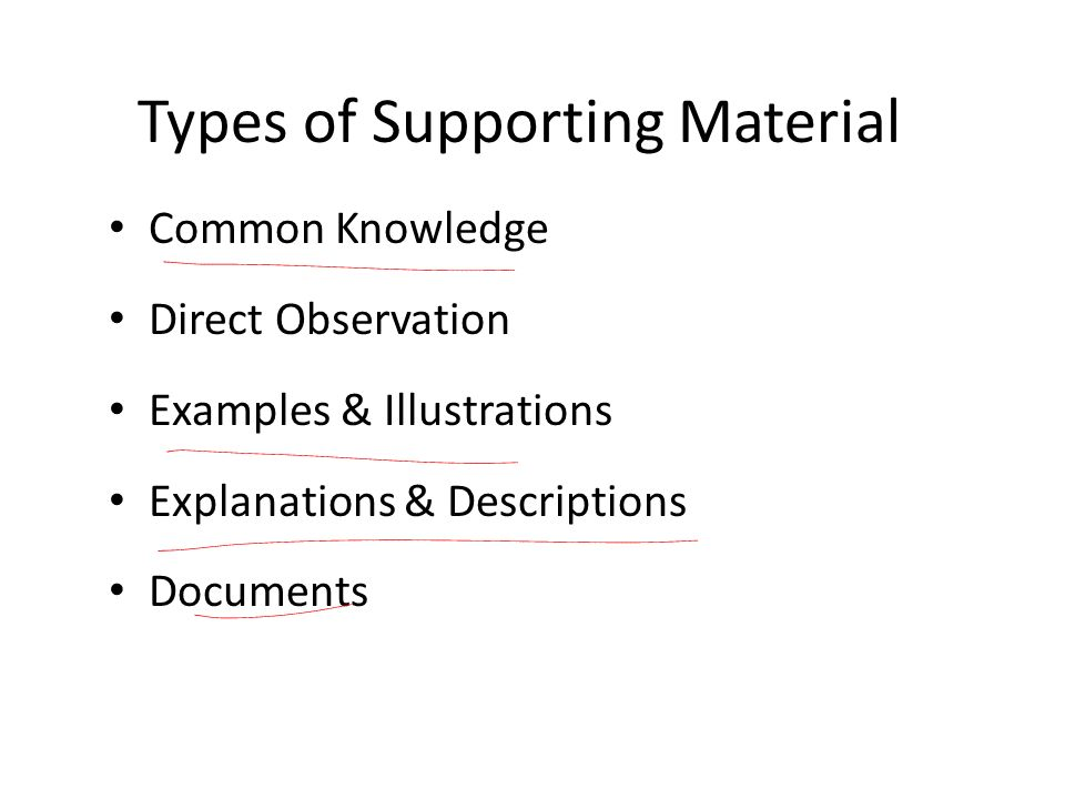 Types of Supporting Material
