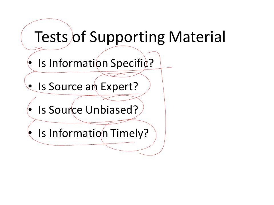 Tests of Supporting Material