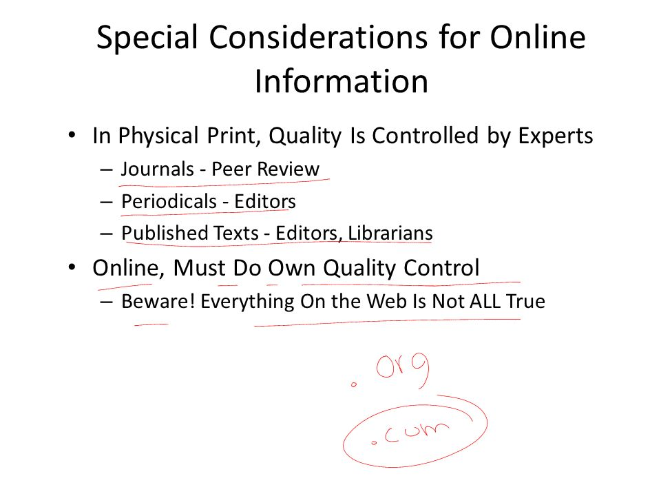 Special Considerations for Online Information