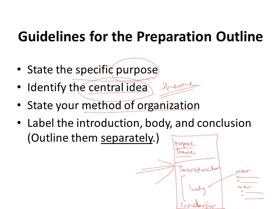 Guidelines for the Preparation Outline