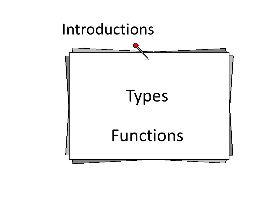 Introductions Types Functions