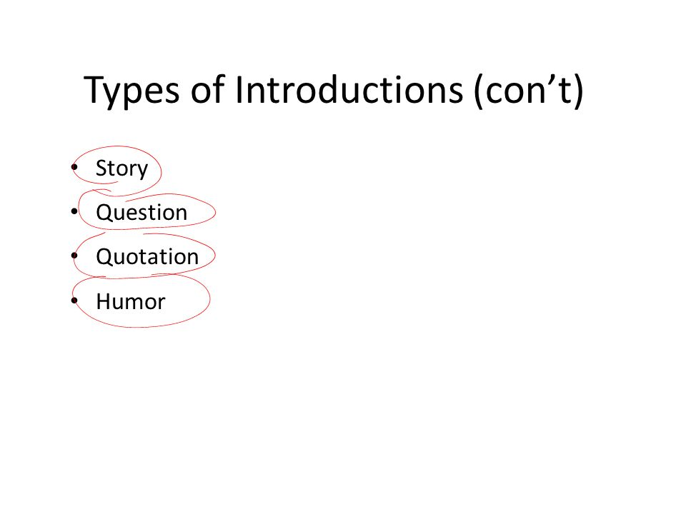 Types of Introductions (con't)