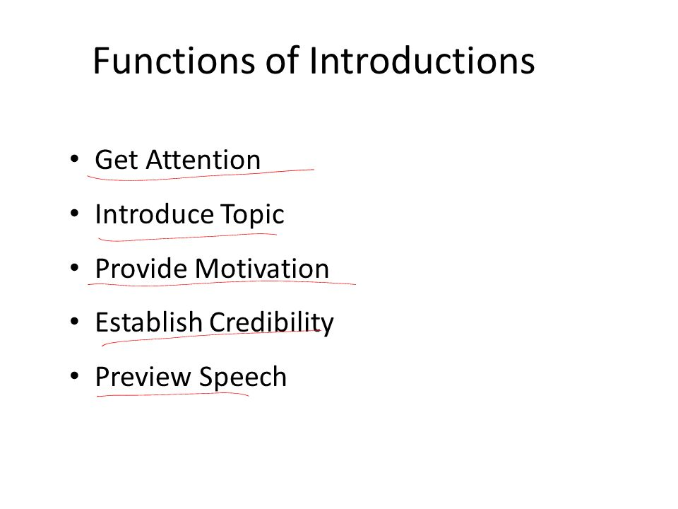 Functions of Introductions
