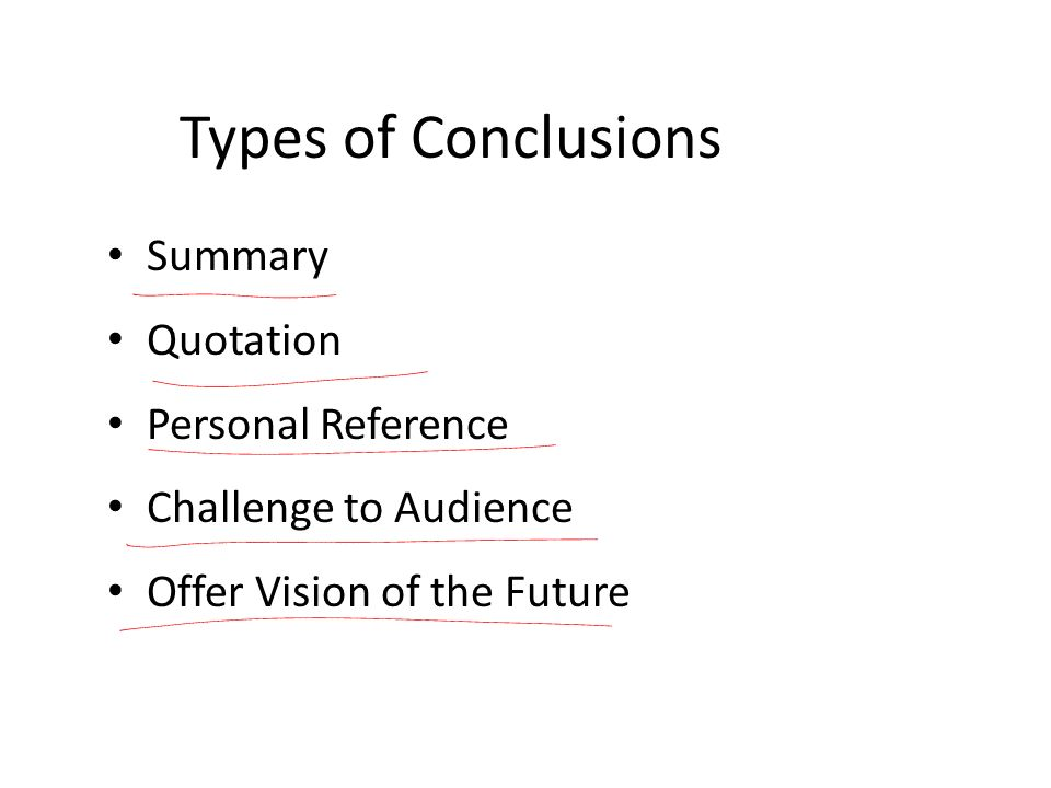 Types of Conclusions Summary Quotation Personal Reference
