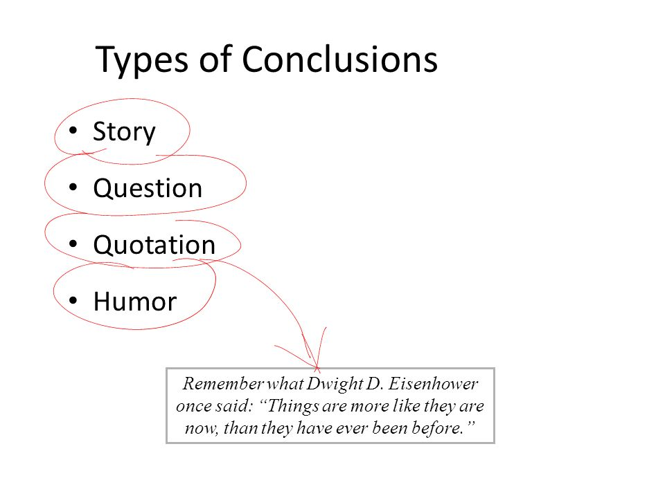 Types of Conclusions Story Question Quotation Humor