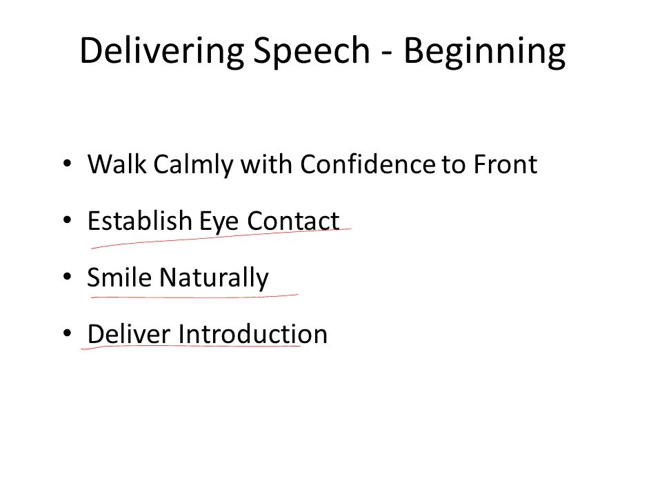 Delivering Speech - Beginning