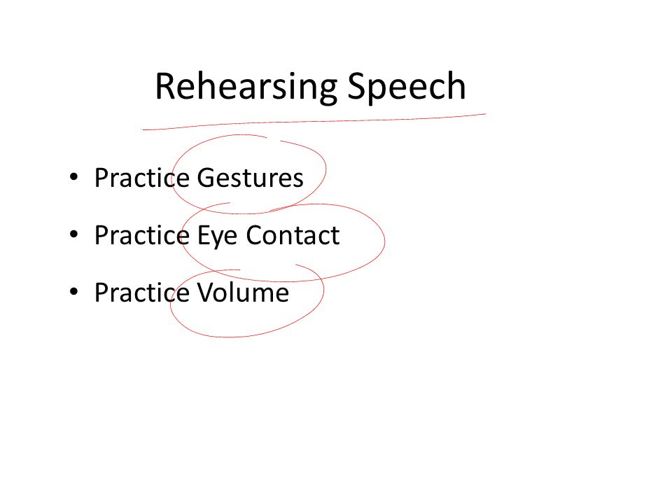Rehearsing Speech Practice Gestures Practice Eye Contact