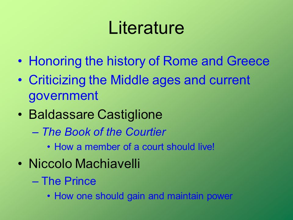 Literature Honoring the history of Rome and Greece
