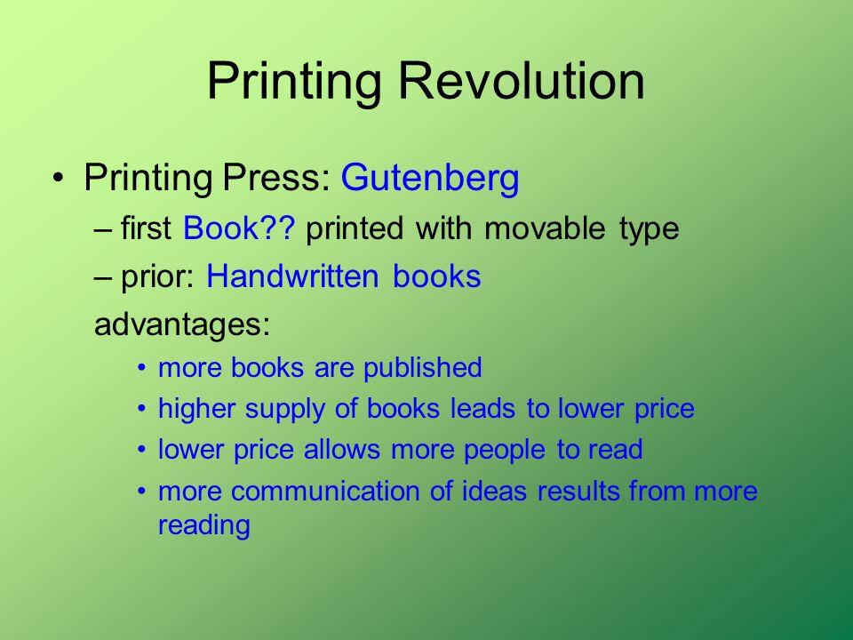 Printing Revolution Printing Press: Gutenberg