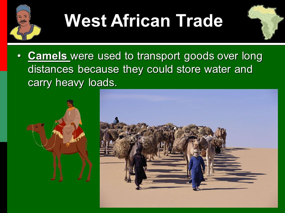 long distance trade in west africa Although there were several continuities in trade between africa and eurasia from  they opened trade with west africa from  and increased long-distance.