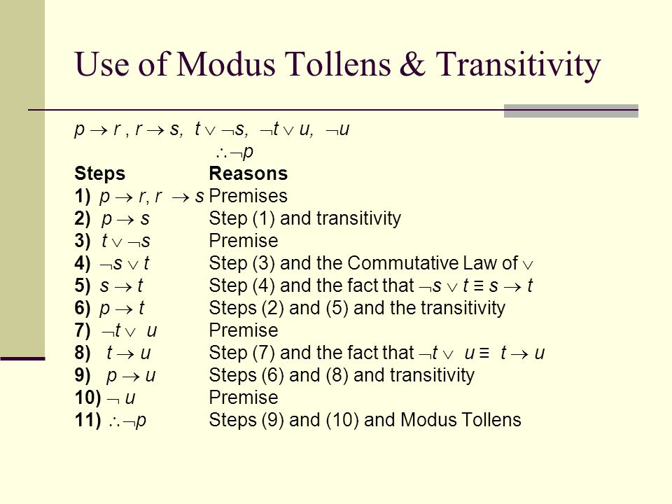 Modus Ponens The following valid arguments show us how to apply the ...
