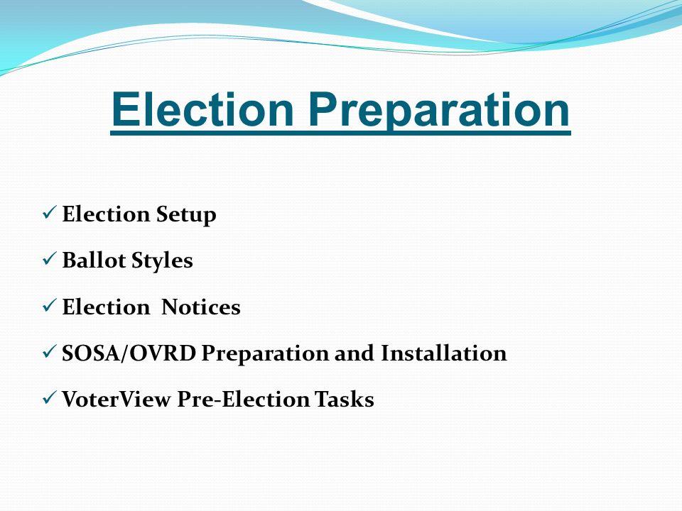Election Preparation Election Setup Ballot Styles Election Notices