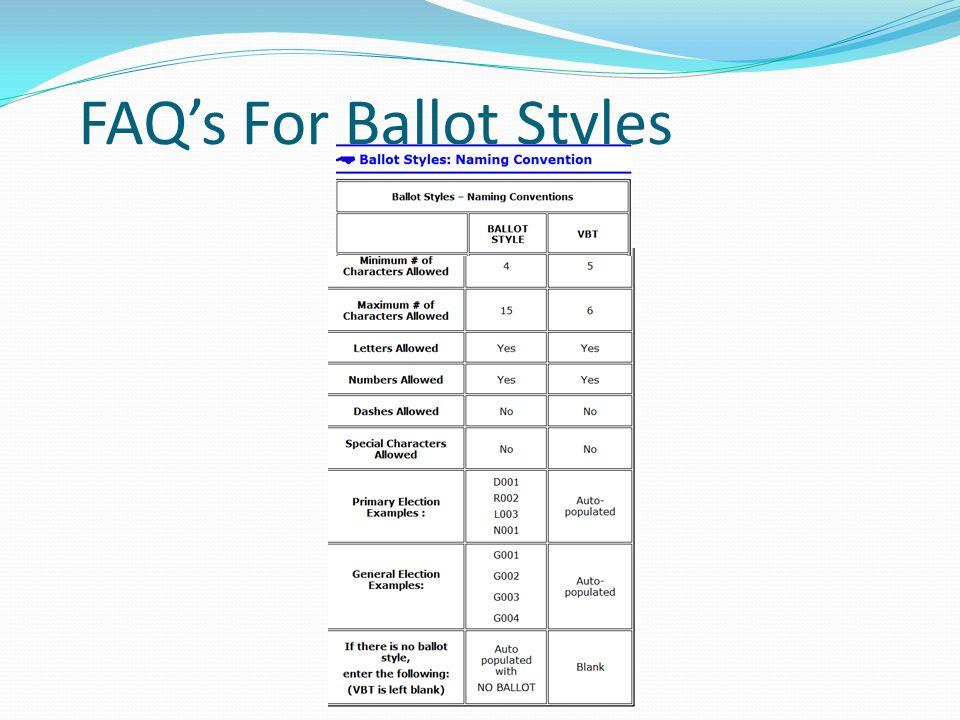 FAQ's For Ballot Styles
