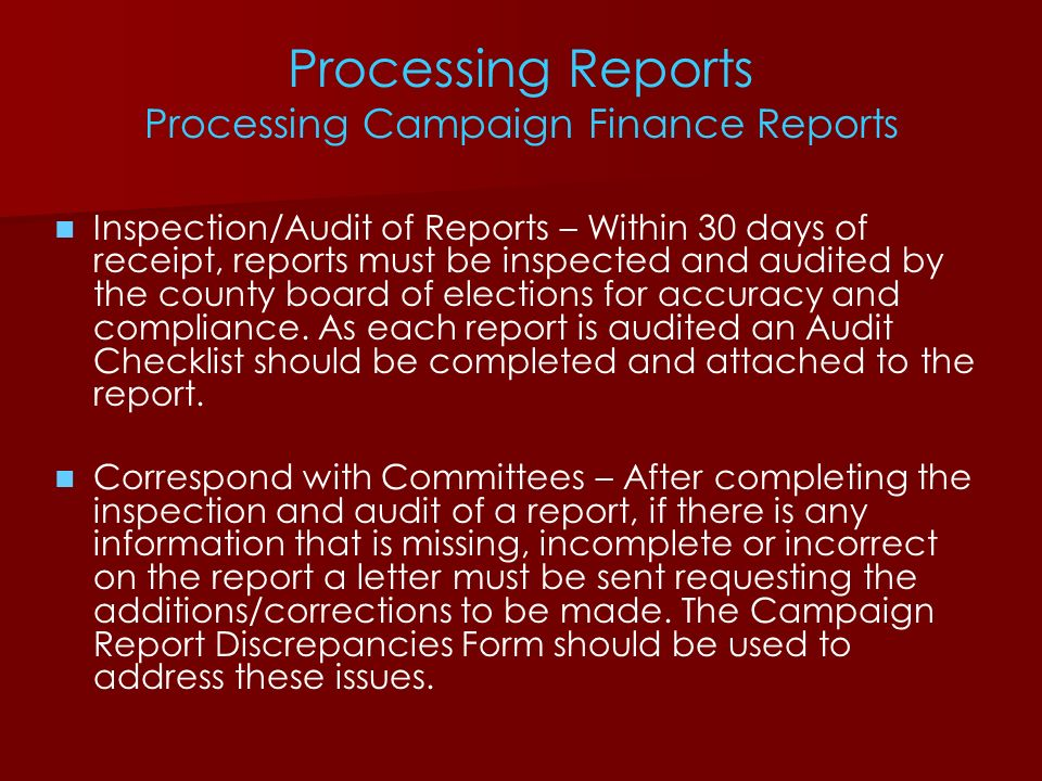Processing Reports Processing Campaign Finance Reports