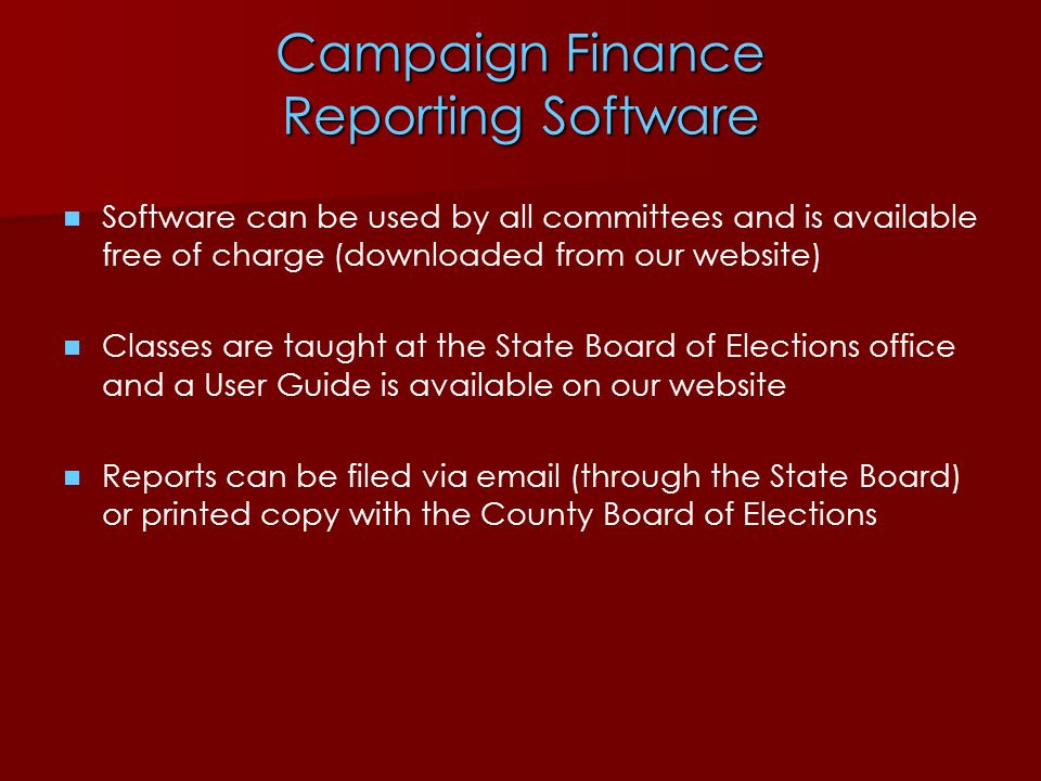 Campaign Finance Reporting Software