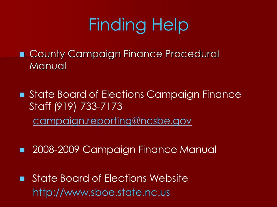 Finding Help County Campaign Finance Procedural Manual