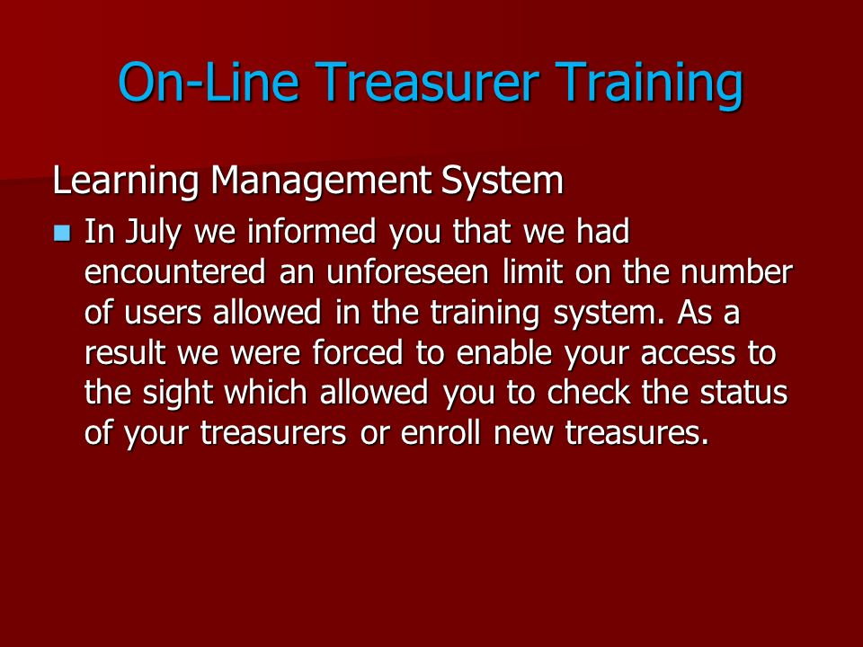 On-Line Treasurer Training
