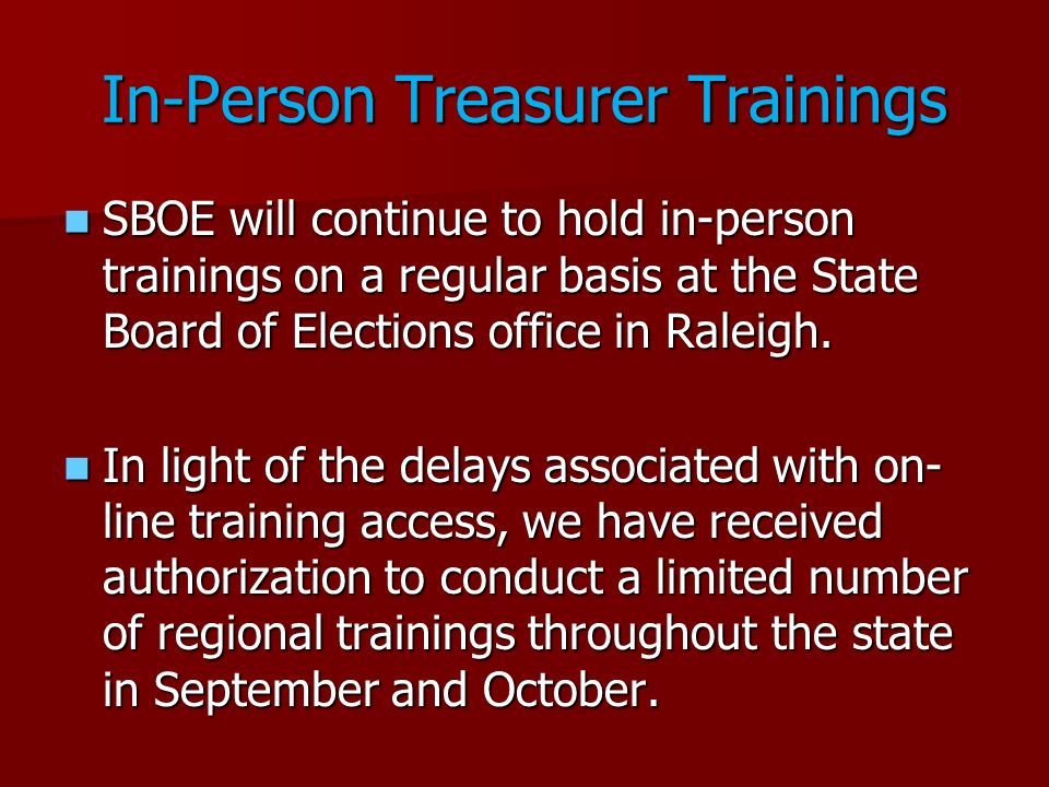 In-Person Treasurer Trainings