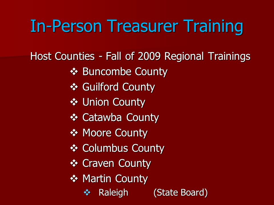 In-Person Treasurer Training