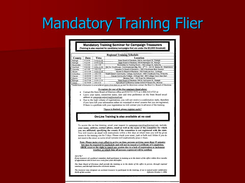 Mandatory Training Flier