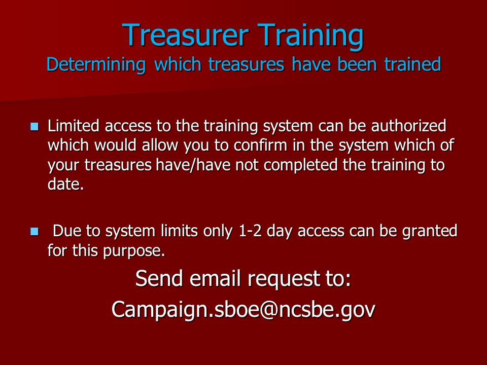 Treasurer Training Determining which treasures have been trained