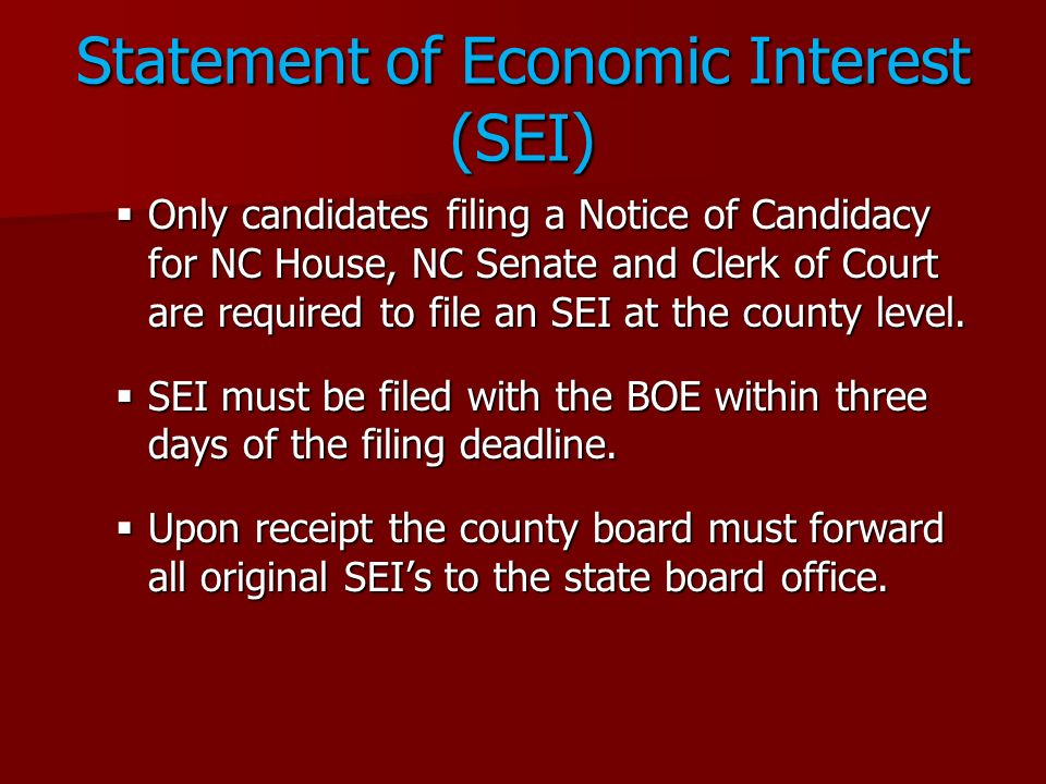 Statement of Economic Interest (SEI)