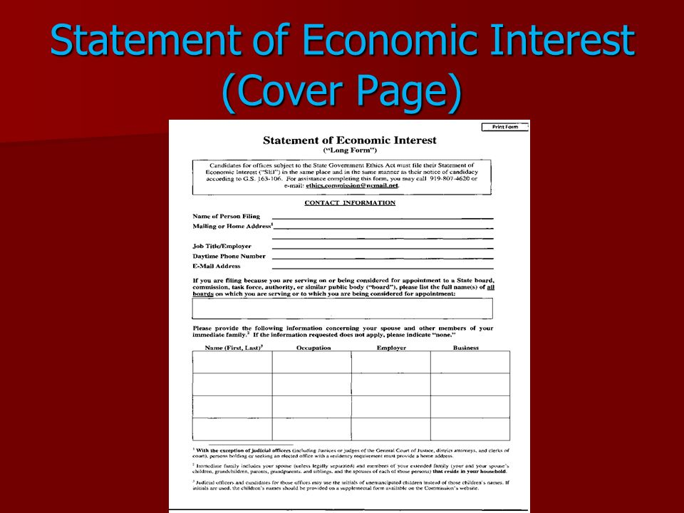 Statement of Economic Interest (Cover Page)