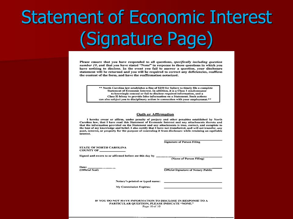 Statement of Economic Interest (Signature Page)