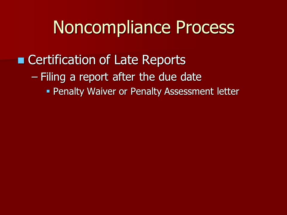 Noncompliance Process