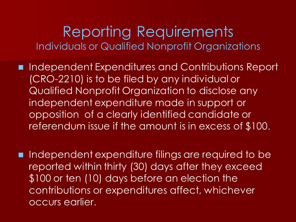 Reporting Requirements Individuals or Qualified Nonprofit Organizations