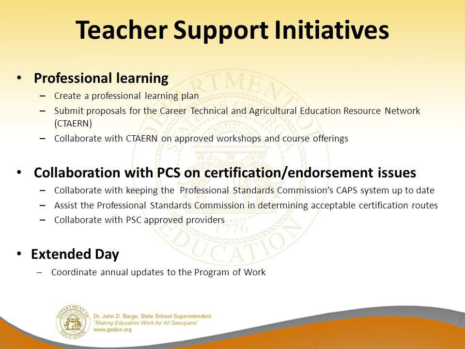 Teacher Support Initiatives