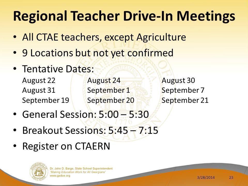 Regional Teacher Drive-In Meetings