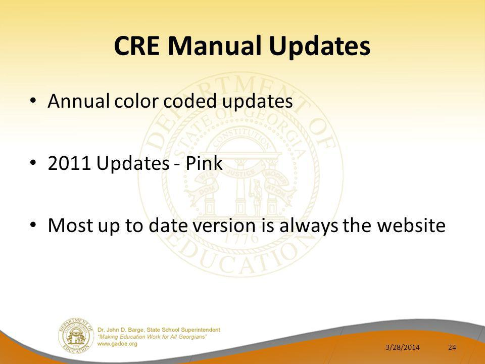 CRE Manual Updates Annual color coded updates 2011 Updates - Pink