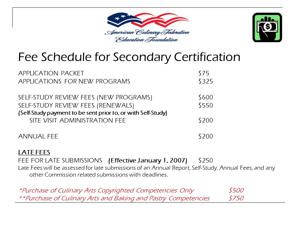 Fee Schedule for Secondary Certification