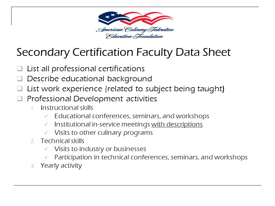 Secondary Certification Faculty Data Sheet
