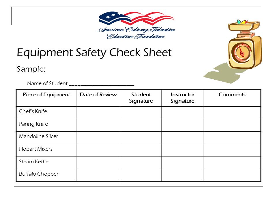 Equipment Safety Check Sheet