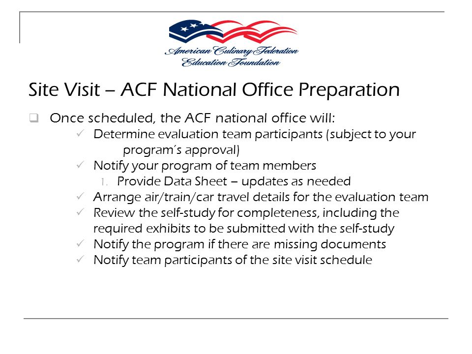 Site Visit – ACF National Office Preparation