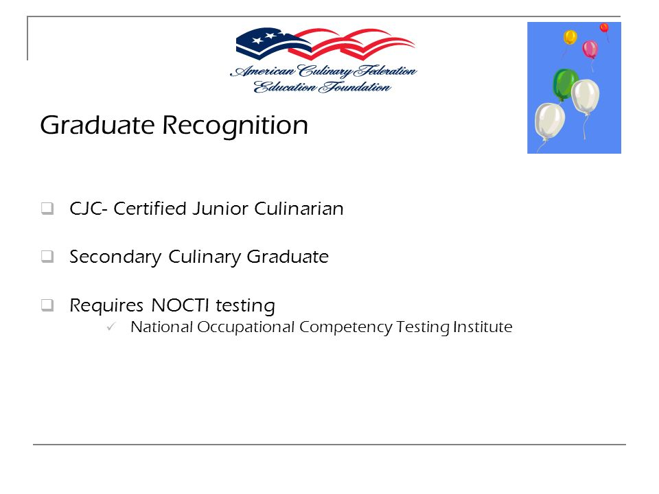 Graduate Recognition CJC- Certified Junior Culinarian