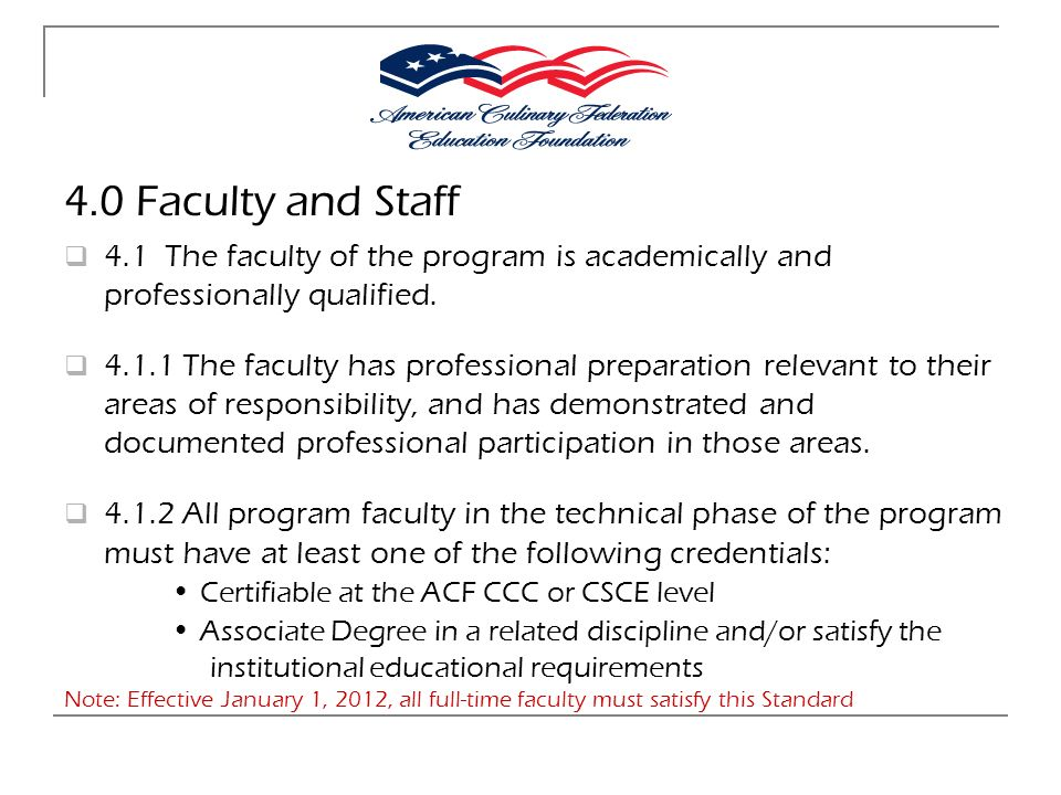 4.0 Faculty and Staff 4.1 The faculty of the program is academically and professionally qualified.