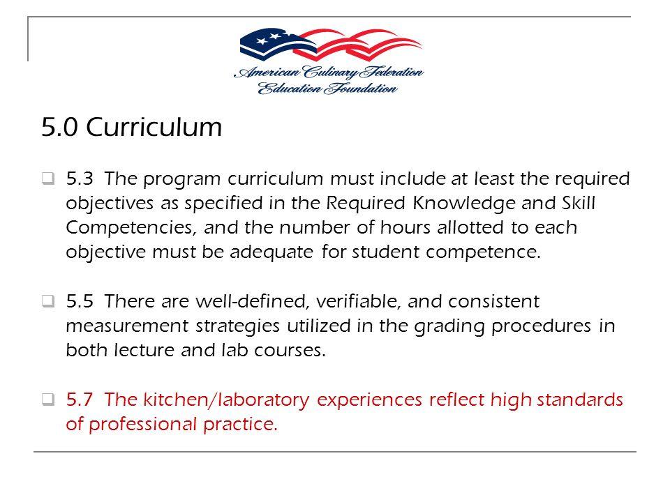 5.0 Curriculum