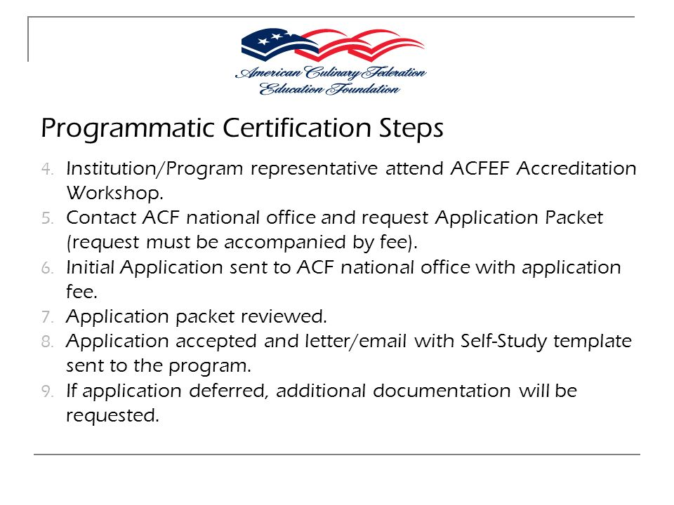 Programmatic Certification Steps