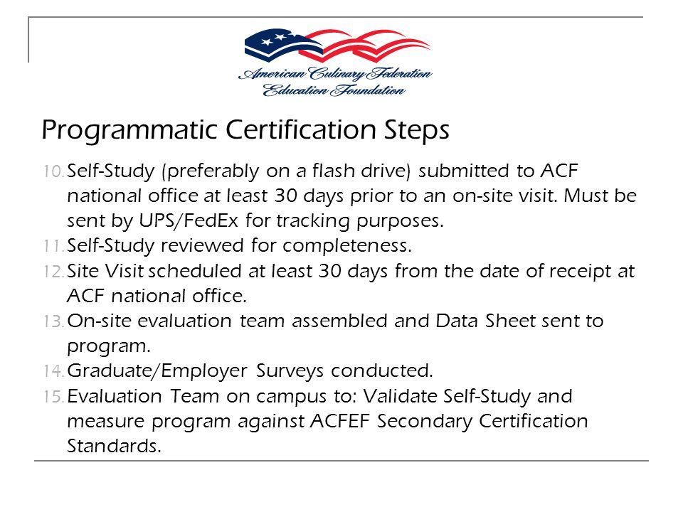 Programmatic Certification Steps