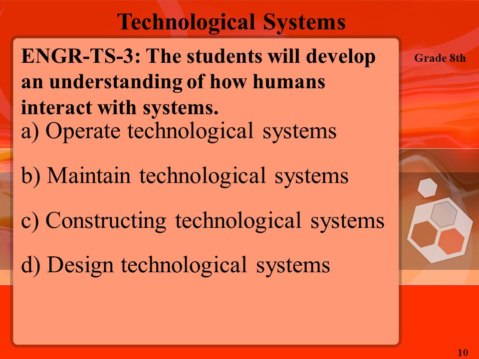 Operate technological systems Maintain technological systems