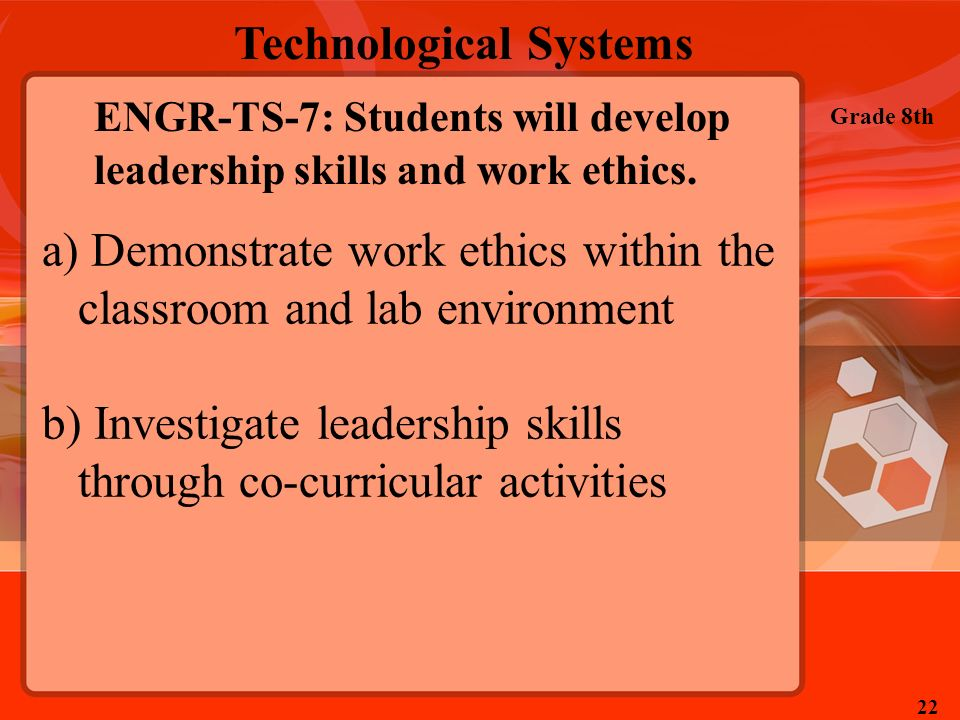 ENGR-TS-7: Students will develop leadership skills and work ethics.