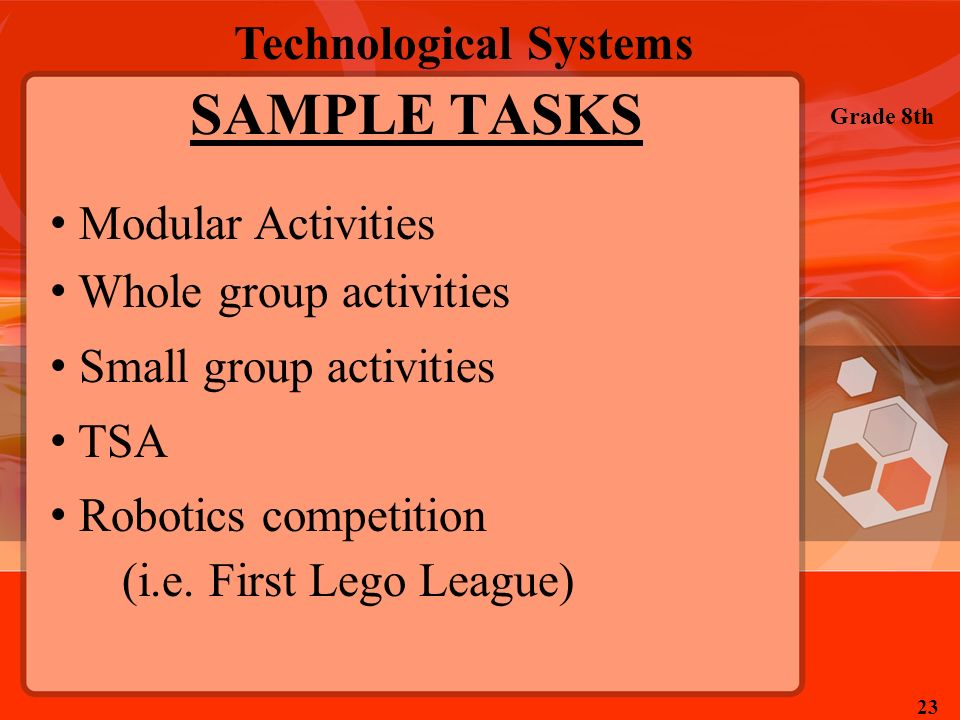 SAMPLE TASKS Modular Activities Whole group activities