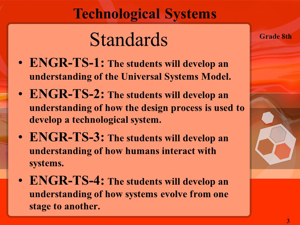 StandardsENGR-TS-1: The students will develop an understanding of the Universal Systems Model.