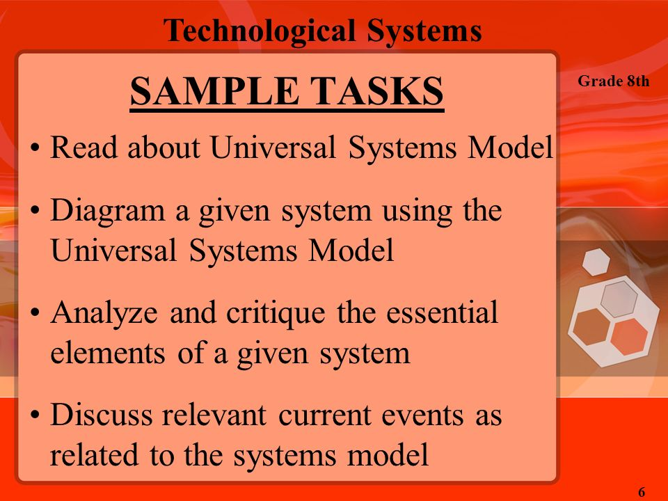 SAMPLE TASKS Read about Universal Systems Model