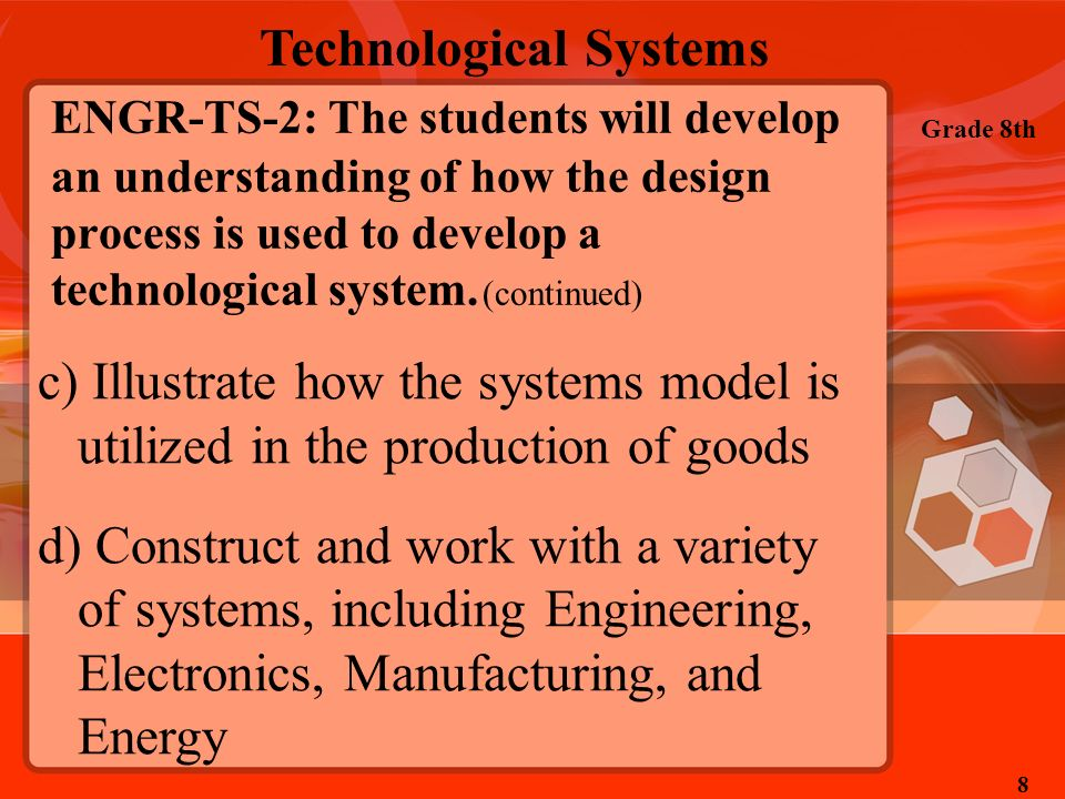 ENGR-TS-2: The students will develop an understanding of how the design process is used to develop a technological system. (continued)