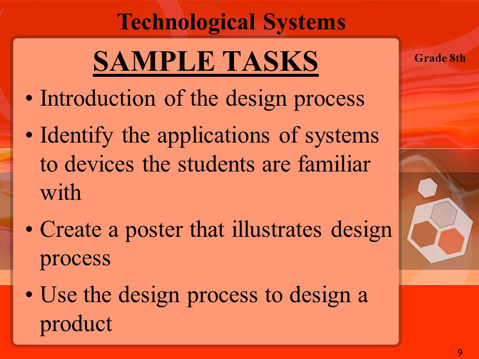 SAMPLE TASKS Introduction of the design process
