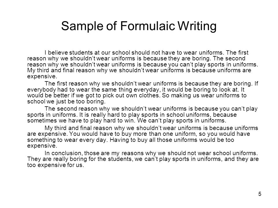 Sample of Formulaic Writing